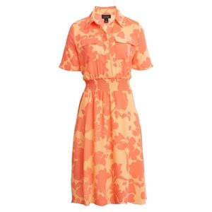 Halogen X Atlantic-Pacific Floral Smocked Dress